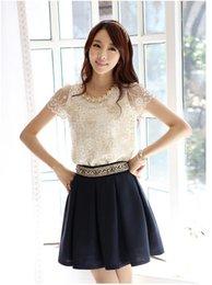 Wholesale Plus Size S XXL New Summer Women Lace Blouse Vintage Hollow Out Chiffon Patchwork Blouses Shirts