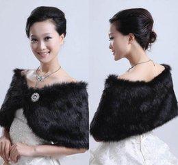 Wholesale 2015 Hot Sale Black Bolero Jacket Wedding Dress Bridal Jackets Faux Fur Bridal Cape Party Prom Shawl Formal Tippet Wedding Jackets