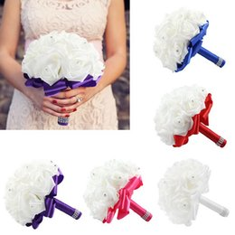 Wholesale Top Quality Hand Made Artificial Silk Rose Wedding Bouquet Rhinestone Artificial Flower for Bride Bridal Bridesmaid Many Colors SPH ZD