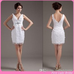 Wholesale 2015 Grecian Style Short Wedding Dresses V neck Sheath White Lace Beach Bridal Gowns Custom Made Bride Dress Summer Vestidos De Novia Corto
