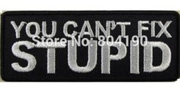 Wholesale YOU CAN T FIX STUPID Slogan Biker Vest IRON ON SEW ON PATCH cosplay accessories props Uniform Jacket Back Badge