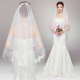 Wholesale Soft Tulle Wedding Veil vintage lace Comb White Ivory with Any Organza Color Bridal Mantilla Lace Bridal Veil