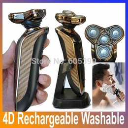 Wholesale 2014 New Luxury Gold Famous Brand D Mens Electric Shaver Shaver Spare Blade Washable Beard Trimmer Shaving Electric Razor