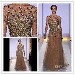 Wholesale 2014 Zuhair Murad Evening Dresses Golden Decorate Evening Gowns Bateau Neckline Sheer Long Sleeve column Floor Length Champagne Prom Dress