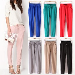 Wholesale 2015 Summer New Fashion Women s Casual Pants Sexy Chiffon Elastic Waist Candy Color Harem Pants Trousers