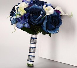 Wholesale Royal Blue Velvet Rose Bouquet Wedding Bouquet New Arrival pc B9