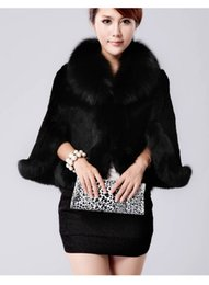 Wholesale A2015 faux fox fur mink rabbit faux fur poncho shawl cape bridal wedding dress shawl cape women vest coat
