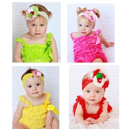 Wholesale Children Lace Pompers Strapless Jumpsuits Baby Jumpers Multilayer Lace Cotton Homewear Girls Baby Climb clothes Baby rompers styles