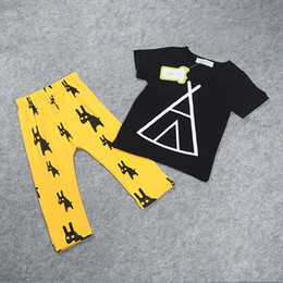 Wholesale 1 Y Baby boy clothes summer kids clothing sets short sleeve printed t shirt pants cotton children outfits suit sets