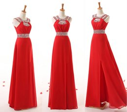 Wholesale 2015 New Arrival Red Sash Evening Prom Party Dresses Sleeveless Floor length Zipper Bridesmaid Dress In Stock