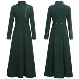 Wholesale New Fashion Full Skirt Womens Dress Coats Red Royal Blue Ultra Long Maxi Coat Jacket Military Trench Coat Outwear W059