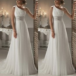 Wholesale Grecian Style Perfect One Shoulder Bridal Wedding Gown Empire Waist A Line Sweep Train Crystal Beaded Ivory Chiffon Vintage Wedding Dresses