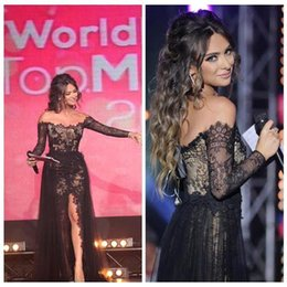 Wholesale 2016 Vestidos De Festa Black Lace Sexy Celebrity Prom Dresses Bateau Sheer Long Sleeves Arabic Formal Evening Gowns Side Slit BO8121