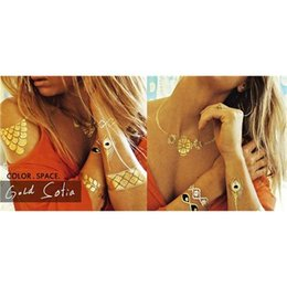 Wholesale Silver Gold Tattoos Temporary Tattoo Necklace for Ladies Beauty Flash Tattoo Stickers for Body Upper Back Neck Armband Jewelry Best Price