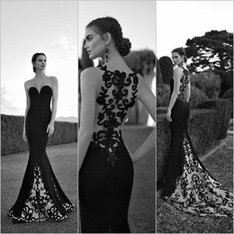 Wholesale Tarik Ediz Elegant Black and White Appliqued Embroidery Long Train Evening Dresses Mermaid Sheer Neck Lace Evening Prom Gowns