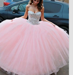 Wholesale 2015 Pink Quinceanera Dresses Ball Gowns Sweetheart with Tulle Beaded Sweet Debutante Gowns Years Party Dress QS22