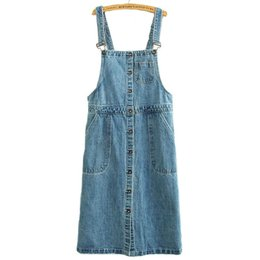 Wholesale Autumn original single ladies denim strap dress skirt sleeveless dress in single breasted A line skirt with large pockets IA