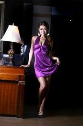 Wholesale DropShipping Purple Color Sexy Lingerie Babydoll Sleep Wear Strap Lace Nightdress Adult Club Wear Dress B11 SV007253