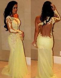 Wholesale Classic Yellow One Shoulder Prom Dresses Long Sleeves See Through Mermaid Shape Cheap In Stock Christmas Party Wear