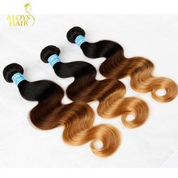 Discount ombre human hair wave Grade 7A 4Pcs Three Tone Ombre Peruvian Virgin Human Hair Extensions 1B 4# 27# Brown Blonde Ombre Peruvian Body Wave Hair Weave Bundles
