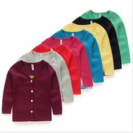 Wholesale The new children s cardigan jacket boys and girls spring autumn and winter models cotton long sleeved round neck baby kid coat