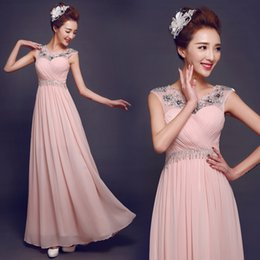 Wholesale In Stock Sheer Scoop Neck A Line Chiffon Prom Dresses Floor Length Cheap Evening Dresses Bridesmaid Dresses