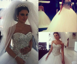 Wholesale 2015 Sparkling Wedding Dresses Ball Gown Puffy White With Crystals Rhinestones Tulle Arabic Bridal Gowns Real Image Fluffy Dress For Bridal