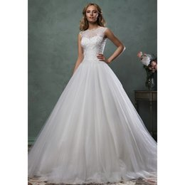 Wholesale Stunning Princess Ball Gown Wedding Dresses Monica New Arrival O Neck Lace Appliques White Tulle Bridal Wedding Dresses Custom Made