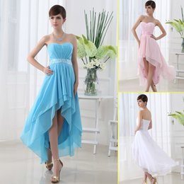 Wholesale Cheap High Low Bridesmaid Dresses Under Blush Pink Blue White Maid of Honor Prom Gowns Real Images Chiffon Beach Wedding Guest SD013