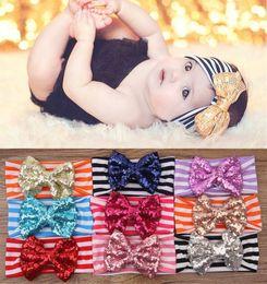 Wholesale Fedex Free Ship New Fashion girls Bow headbands baby sequins bowknot headband girls Striped cotton headbands Handmade baby headbands