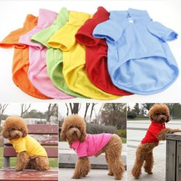 Wholesale XS S M L XL Size Cute Small Pet Puppy Dog Cat Clothes T Shirt Polo Shirt Solid Apparel Tee L010