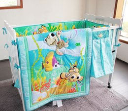 Wholesale Light blue ocean Pieces Crib Baby Bedding Set Finding Nemo Baby Nursery Cot Crib Bumper Quilt Fitted Sheet Dust Ruffle for Newborn