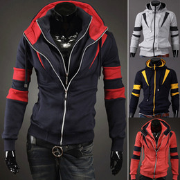 Wholesale winter Fashion Men s hot Slim Fit zip up hoodies sweatshirts Sport mens Hoodies Jacket Top hoodied Sweatshirts M XL