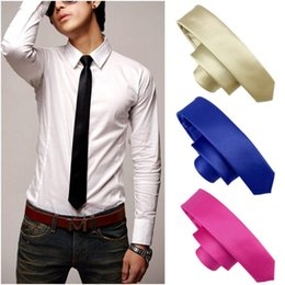 10 Moda Mens Skinny Pcs mínimo Womens cor sólida Plain Satin Tie gravata Gravatas Frete Grátis 60003