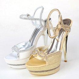 Wholesale Open Toe Sandalias Zapatos Stiletto Bombas Tacones Altos cm Cuentas Oro Blanco Mujer Señora Noche Cóctel De Fiesta Accesorios De Boda Bridal
