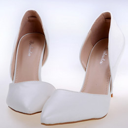 Wholesale Simple White Patent Leather Women s Prom Party Evening Dress Bridal Wedding Shoes Pointed Toe PU cm Stiletto Pumps Heels