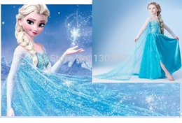 Wholesale 2014 New Frozen Elsa Dress Up Gown Costume Ice Princess Queen Anna Girls Kids Skirt Halloween Party Cosplay Size cm