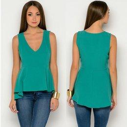 Wholesale New Arrival women sexy deep v neck tops green Sleeveless Vest blouses plus size S XXL women blouses roupas femininasNB00763