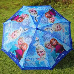 Wholesale 100pcs Promotion price Frozen Umbrella Frozen Princess Elsa Anna Olaf Rain and Sun Proof Children Umbrella cm Frozen Series