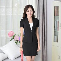 Wholesale women business suits formal office suits work blazer set new elegant short sleeve plus size xxxl black career skirt suits