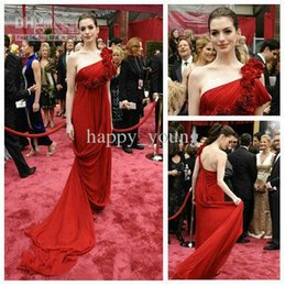 Wholesale The th Oscar Custom Chiffon Red One Shoulder Ruffle A line Beads Flowers Celebrity Dresses Anne Hathaway