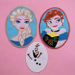 Wholesale Frozen Clothing patch Elsa Anna Cartoon clothing soup paste buiter electricity embroidered patch for baby kids factory price colorful design