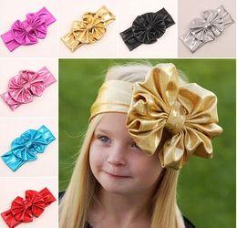 Wholesale Shiny leather bow headband for children baby girls big elastic metal color head wraps turban bands bandana headband hair accessories