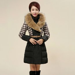 Wholesale New Arrival Winter Jacket Down Coat Plus Size Fashion Raccoon Fur Colloar Houndstooth Outerwear Long Coat Winter Jackets For Women