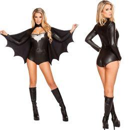 Wholesale Superhero Superwoman Black Batman Sexy Party Adult Female Theme Costume Halloween Uniform Temptation Pumpkin Cosplay Performers Wear