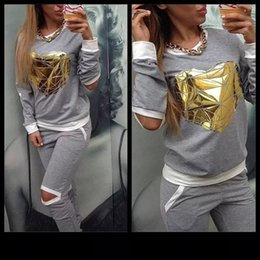 Wholesale New Tracksuit Woman s Sets Jogging Sweatshirt pants One Set Gray Sport Suits Golden Heart Hollow Sweatsuits Sweats Suit Big Size