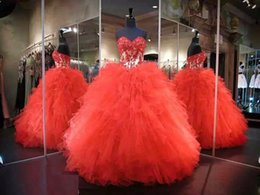 Wholesale Sweetheart Lace Red Quinceanera Dresses Sweet Long Ruffled Prom Dresses Ball Gown debutante dresses