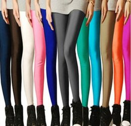 Wholesale Sexy Solid Candy Neon Plus Size Women Leggings High Stretched Gym Yoga Sports Jeggings Fitness Clothing Ballet