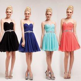 Wholesale Cheap Short Sweetheart Royal Blue Chiffon Bridesmaid Dresses Ruched Corset Beading Sash Pink Black Custom Made Dress For Bridesmaid