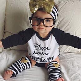 Wholesale INS Newborn Baby Boys Clothing Set Suit Letter Printed Long Sleeve T shirt Shorts Leg Warmer Big Bow Headband Kids Clothes